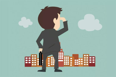 Desenho de um executivo olhando para uma cidade