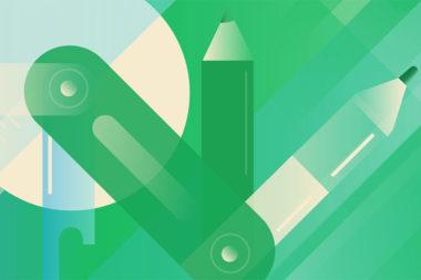 Desenho de um canivete com elementos de educação