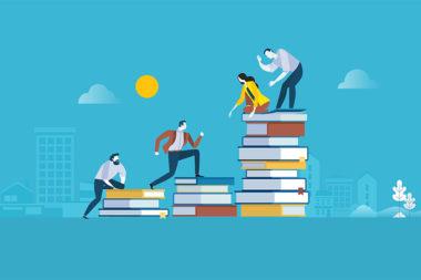 Desenho de pessoas escalando livros