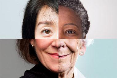 Foto em mosaico mostrando rosto de mulheres