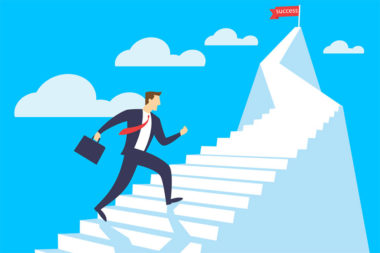 Ilustração de um homem em busca de sucesso