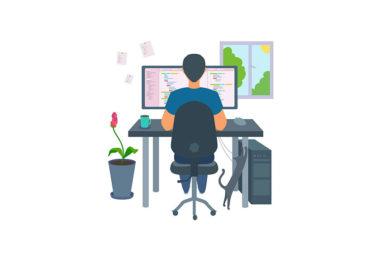 Desenho de um homem trabalhando no computador