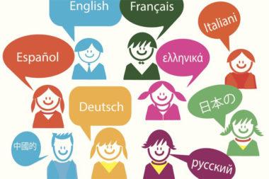 Ilustração de pessoas falando vários idiomas diferentes