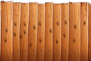 Ilustração de uma cerca de madeira com furos de prego